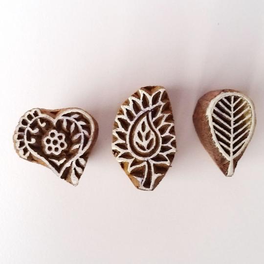 Small Wood Stamps - Heart, Leaf/Flower, Leaf Stamp