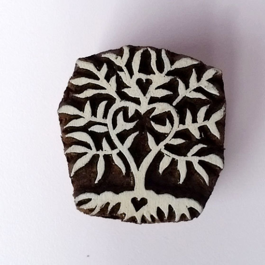 Tree Heart Stamp - Indian Wood Block Printing Hand Carved Stamp