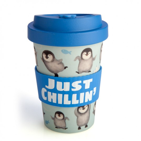 Penguin Travel Mug - Bamboo Keep Cup - Just Chillin