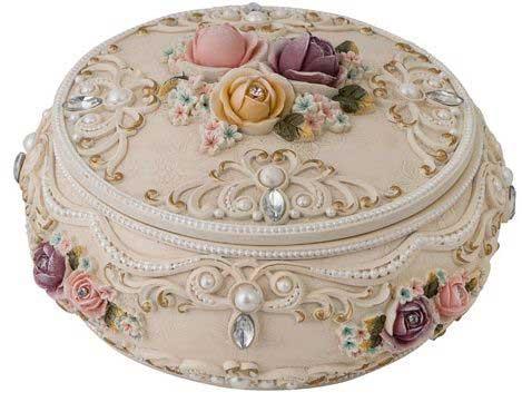 Floral Round Trinket Box - Vintage Look