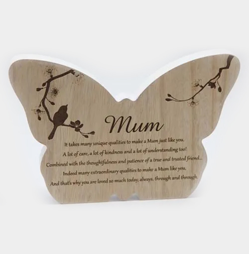 Mum Butterfly Wood Quote
