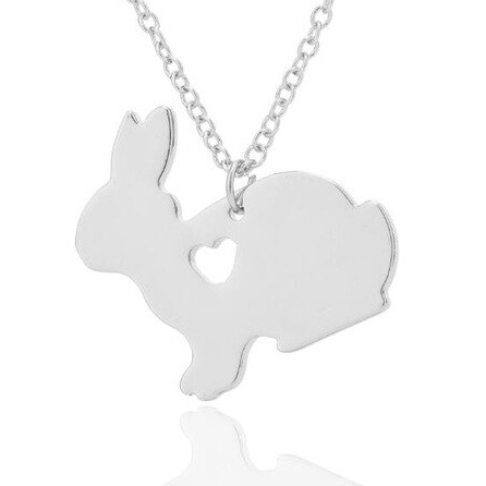 Bunny Necklace – Silver – Fashion Jewellery – Rabbit Heart Gift
